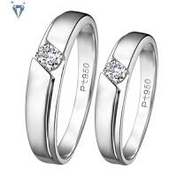 PT950情侣对戒结婚戒指 镀铂金仿真钻戒婚戒 情人礼物 订婚