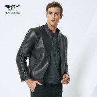 七匹狼皮衣秋冬中青年男士时尚商务休闲短款皮夹克绵羊皮皮衣外套
