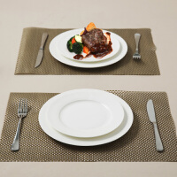 【当当自营】SKYTOP斯凯绨 陶瓷骨瓷西餐盘不锈钢刀叉8件套装 白瓷圆形