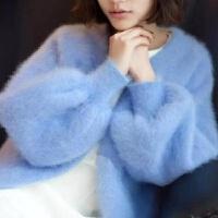 毛衣女士秋冬宽松加厚慵懒灯笼袖原宿针织貂绒兔毛开衫女短外套