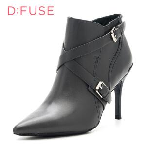 【星期六集团大牌日】迪芙斯(D:FUSE) 摔纹牛皮革细跟尖头时尚短靴DF6411A027