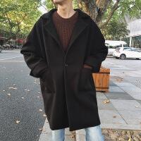 男士风衣冬季宽松加厚毛呢外套韩版潮流中长款学院风落肩呢子大衣