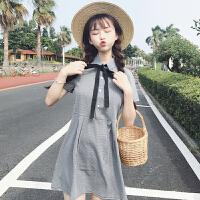 韩版复古宽松系带格子连衣裙女装春装2018新款学院风中长款衬衫裙