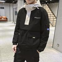 新款男外套春装韩版潮流修身棒球服秋季款男士运动休闲夹克连帽服