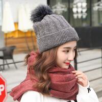 新款韩版秋冬季女士加绒毛线学生冬天可爱针织球保暖铁环帽子