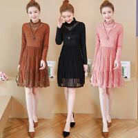 秋冬季新款蕾丝打底衫连衣裙女长袖气质加厚收腰内搭冬裙