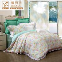 富安娜家纺 馨而乐淡雅韩式清新碎花床上用品四件套 莱赛尔纤维床品套件