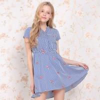 夏装新品立领条纹绣花修身松紧腰短袖连衣裙D728698L20