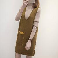 时尚毛衣两件套女士秋冬装新款中长款背心裙宽松马甲针织套装裙潮