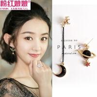 S925银耳针韩国气质不对称耳环长款耳坠个性耳饰品星星月亮耳钉女