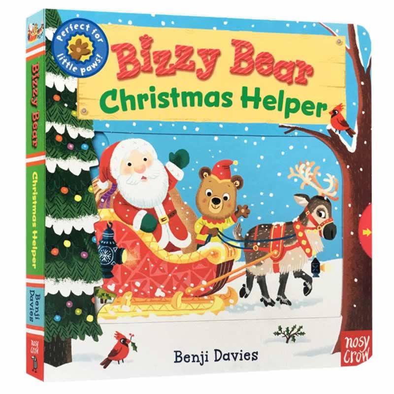 英文原版童书 Bizzy Bear Christmas Helper 忙碌的小熊系列 圣诞老人机关操作书 0-3岁幼儿早教启蒙认知绘本 节日礼物玩具纸板书