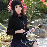 中国风女装 2018春装新款 复古民族风上衣T恤绣花长袖高领打底衫