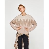 秋冬新款提花马海毛针织衫几何撞色圆领套头毛衣