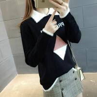 春装新款宽松韩版学生毛衣女士长袖短款百搭打底衫修身套头针织衫
