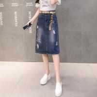 牛仔裙女春夏2018新款后开叉一步裙中长款宽松大码半身裙包臀裙潮