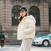 ZAH正品棉衣女士短款2017冬款韩版连帽宽松面包服羽绒收腰加厚棉袄外套