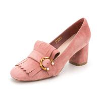 【限时3折】迪芙斯(D:FUSE)女鞋 秋季羊皮革珍珠皮带扣方跟休闲单鞋 DF83112677