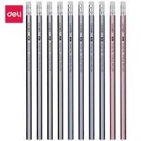 得力58143铅笔带橡皮擦六角笔杆HB儿童小学生铅笔无毒2B书写铅笔
