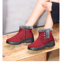 冬季青中年布鞋女棉靴加绒加厚保暖妈妈鞋厚底防滑时尚 休闲鞋