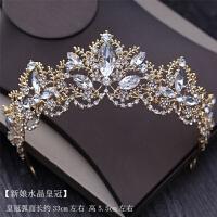 新娘头饰结婚饰品婚纱配项链耳环套装新娘金色皇冠水晶珍珠三件套