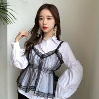 春季新款复古韩国灯笼袖白色衬衫女长袖打底+外搭网纱吊带两件套
