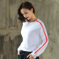瑜伽服 上衣女长袖圆领T恤 健身房跑步运动服弹力大码宽松
