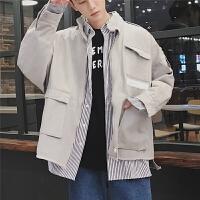 2018春季新款男士宽松立领夹克衫外套多口袋个性毛边夹克春装上衣