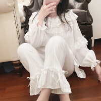 睡衣女春秋冬日系长袖甜美可爱白色蕾丝公主风韩版家居服 白色