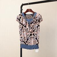 夏季韩版女装圆领短袖花色气质套头T恤雪纺衬衫上衣