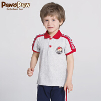 【3件3折 到手价:107】Pawinpaw卡通小熊童装夏款男童翻领撞色短袖T恤polo衫