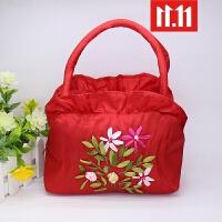 零钱包女包绣花手提手拎小包包中年妈妈买菜包迷你奶奶老年包 拉链款 大红
