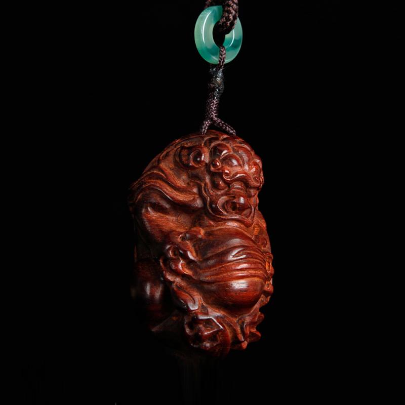 小叶紫檀手把件 红木木雕貔貅挂件 文玩小件