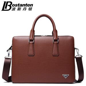 (可礼品卡支付)波斯丹顿男包商务公文包牛皮横款手提男士大容量单肩包复古皮潮包B1164023