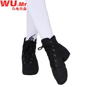 儿童舞蹈鞋 女童软底舞蹈鞋系带爵士舞鞋儿童中大童黑色练功鞋低跟体操鞋子