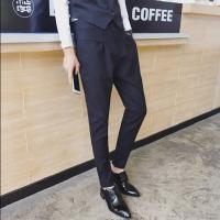 新品2018春季韩版男士修身哈伦西裤发型师个性潮流男裤子英伦小脚