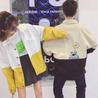 200斤胖mm加肥加大码bf原宿风春季韩版印花撞色宽松工装情侣外套