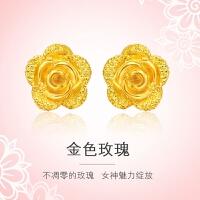 周大福 婚嫁光砂玫瑰花足金黄金耳钉(工费:48计价)F63286