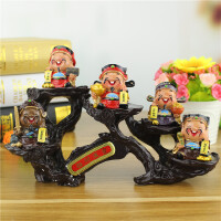 Q版五路财神爷带展示架木架 创意新奇特个性树脂工艺品摆件