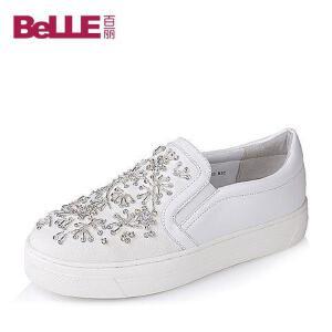 Belle/百丽秋专柜同款时尚乐福鞋帆布女单鞋BJBF5CM6