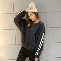 17冬季新运动加绒加厚套头卫衣女韩版女装长袖套头运动上衣