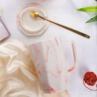 简约ins杯子陶瓷马克杯带盖勺北欧韩版女学生网红办公室情侣水杯