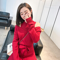 2018秋冬新款露肩针织连衣裙女背心假两件收腰蓬蓬裙红色礼服裙 红色 均码