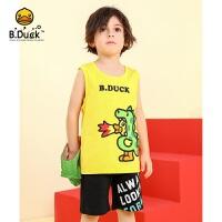 【4折价:79.6】B.duck小黄鸭童装儿童背心纯棉2020夏季男童无袖t恤卡通上衣BF2005312