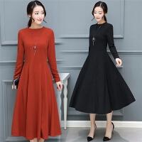 秋装连衣裙女长袖新款气质中长款韩版修身显瘦百搭秋冬款裙子