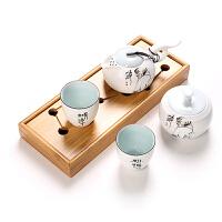 功夫茶具套装茶道办公室家用干泡茶艺喝茶泡茶配件陶瓷器简约旅行