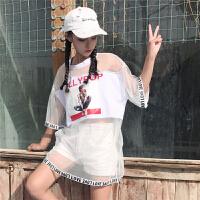 社会女潮韩范bf原宿风中长款网纱镂空透视T恤酷酷的街舞嘻哈服装