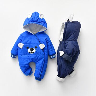 【开学季1件3折:59.4元】新款加厚细绒1200厚度连帽防风保暖型宝宝连体衣小童外出爬服