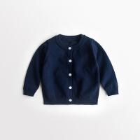 女童秋装针织开衫外穿春款宝宝毛线衣外套毛衫纯色百搭儿童线衫男
