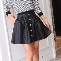 同款 春夏裙大码PU小皮裙 迷你性感显瘦半身裙 A字裙裤短裙子 黑色