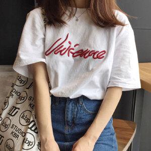 哆哆何伊夏季chic刺绣宽松bf原宿风短袖t恤女百搭白色学生上衣潮
